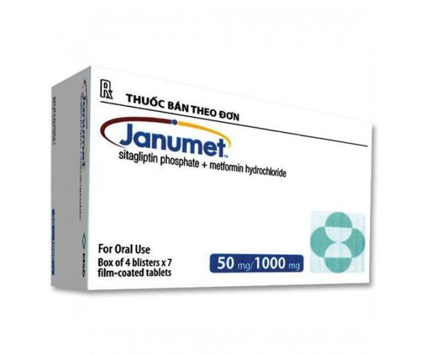 Thuốc trị bệnh tiểu đường Janumet 50/1000mg (4 vỉ x 7 viên/hộp)