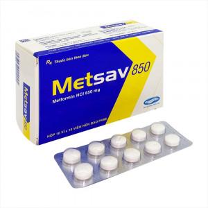 Thuốc trị bệnh tiểu đường Metsav 850mg (10 vỉ x 10 viên/hộp)