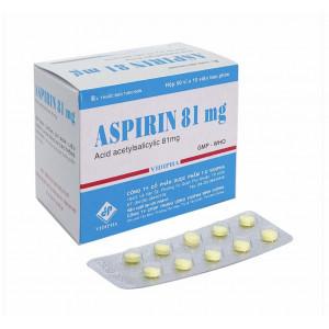 Thuốc phòng ngừa tai biến Aspirin 81mg Vidipha (10 vỉ x 10 viên/hộp)