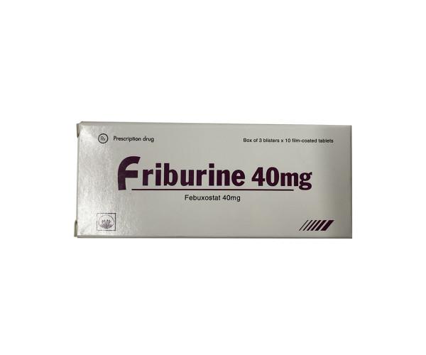 Thuốc trị gout Friburine 40mg (3 vỉ x 10 viên/hộp)