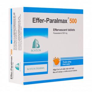 Viên sủi giảm đau, hạ sốt Effer-Paralmax 500 (5 vỉ x 4 viên/hộp)