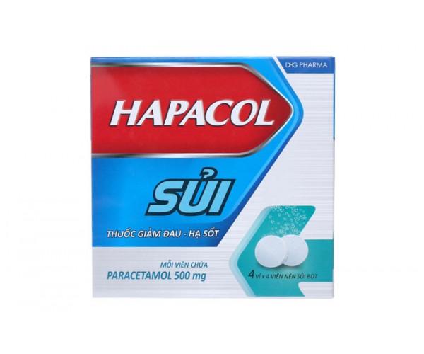 Viên sủi giảm đau, hạ sốt Hapacol 500mg (4 vỉ x 4 viên/hộp)