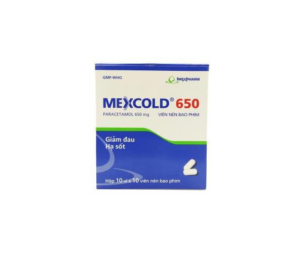 Thuốc giảm đau, hạ sốt Mexcold 650mg (10 vỉ x 10 viên/hộp)