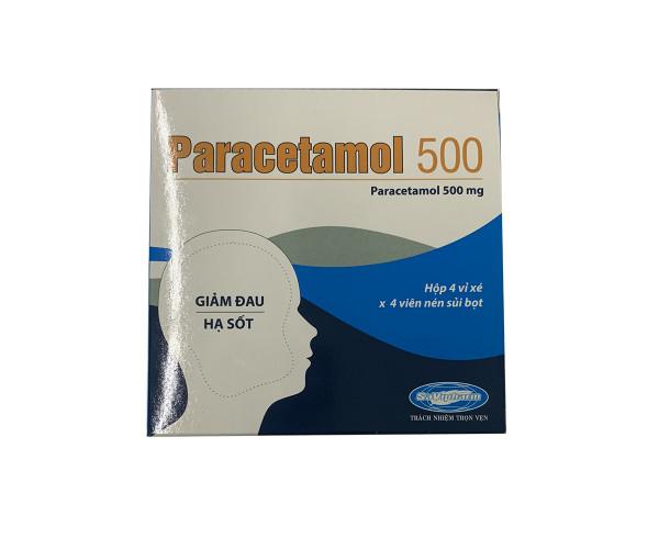 Viên sủi giảm đau, hạ sốt Paracetamol 500mg Savipharm (4 vỉ x 4 viên/hộp)